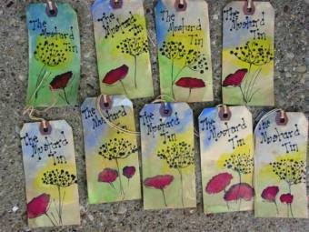 Handpainted hang tags were personalized to the customer's shop name.