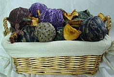 Scented rag balls in a basket