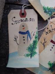 Snowmen hang tags.